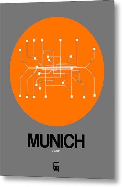 Munich Orange Subway Map Metal Print