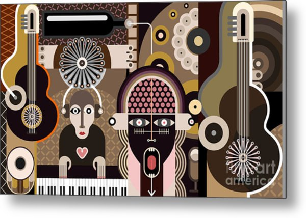Music Background - Abstract Vector Metal Print