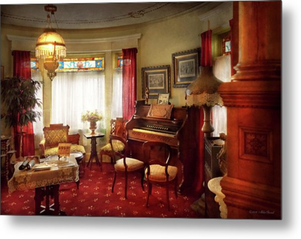 Metal Print featuring the photograph Music - Organ - In The Parlor by Mike Savad