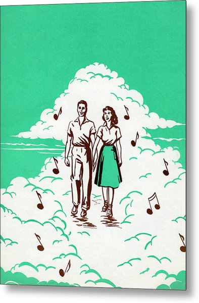 Musical Couple In The Clouds Metal Print by Graphicaartis