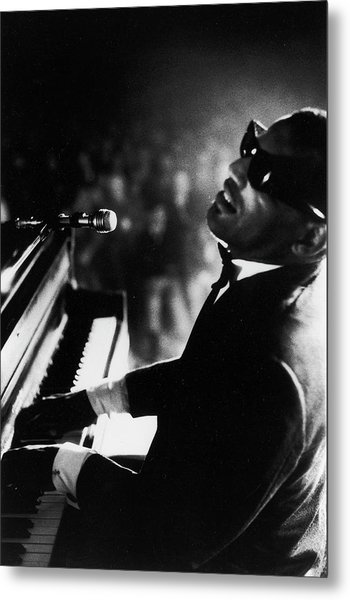 Musician Ray Charles Playing Piano In Metal Print by Bill Ray