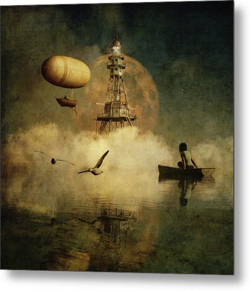 Metal Print featuring the digital art My Dream About The Lighthouse by Jan Keteleer