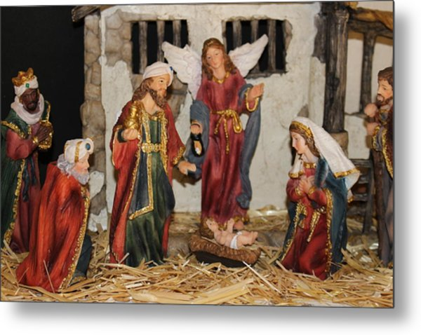 My German Traditions - Christmas Nativity Scene Metal Print