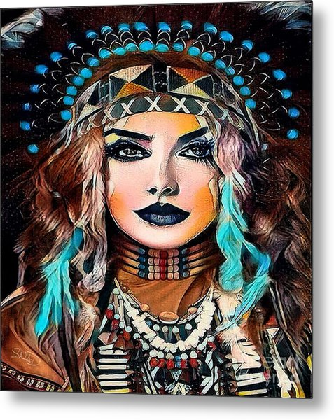 Nahimana The Sioux Indian Metal Print