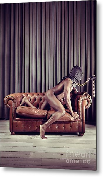 Naked Man With Mask On A Sofa Metal Print