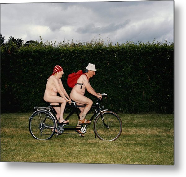 Naked Mature Couple Riding Tandem Metal Print