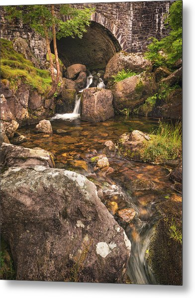 Metal Print featuring the photograph Nant Gaws Waterfall And Old Stone Bridge by Elliott Coleman