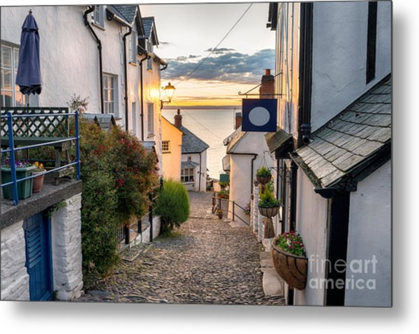 Narrow Cobbled Streets Lined With Metal Print