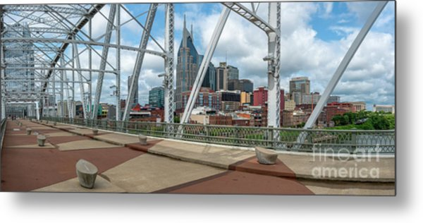 Nashville Cityscape From The Bridge Metal Print