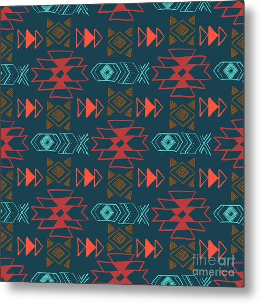 Native American Seamless Pattern With Metal Print