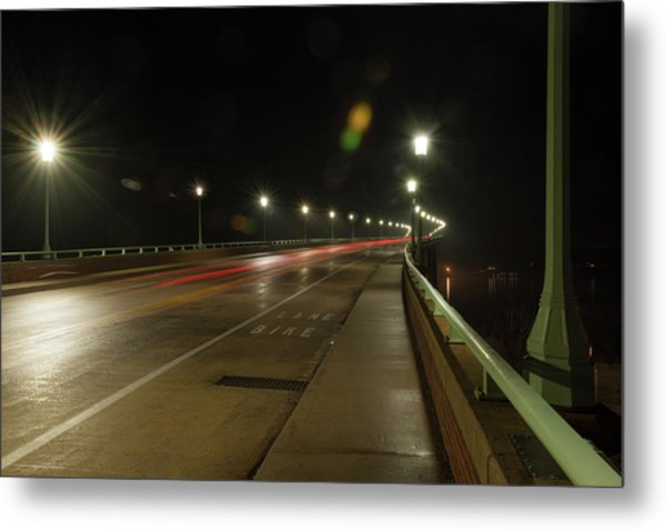 Metal Print featuring the photograph Naval Academy Bridge At Night by Mark Duehmig