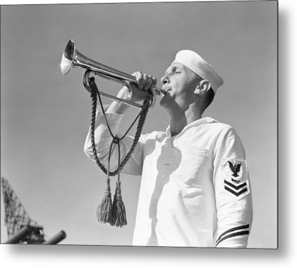 Navy Uniform Wearing White Uniform Metal Print by H. Armstrong Roberts