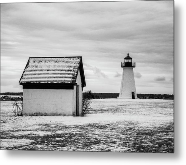 Metal Print featuring the photograph Neds Point Lighthouse Mattapoisett Ma Bw by David Gordon