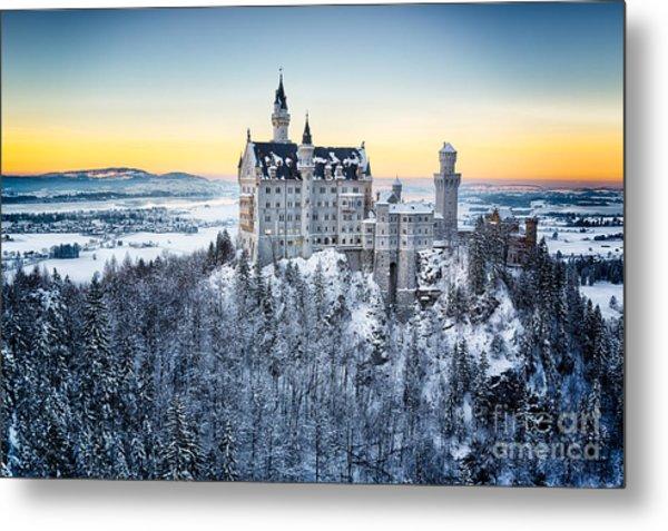 Neuschwanstein Castle At Sunset In Metal Print by Frank Fischbach
