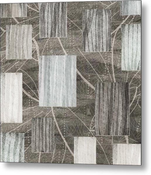 Neutral Leaf Print Squares Cream Metal Print