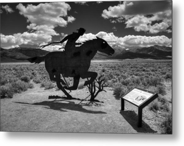 Nevada - Pony Express Monument 001 Bw Metal Print by Lance Vaughn