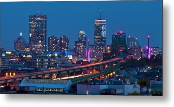 New England Patriots - Boston Skyline Metal Print