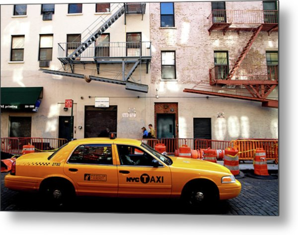 Metal Print featuring the photograph New York, Cab by Edward Lee