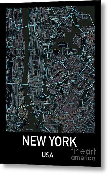 New York City Map Black Edition Metal Print