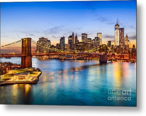 New York City, Usa Skyline Over East Metal Print