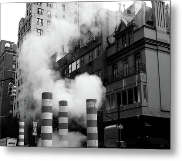 Metal Print featuring the photograph New York, Steam by Edward Lee