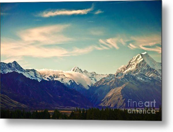 New Zealand Scenic Mountain Landscape Metal Print
