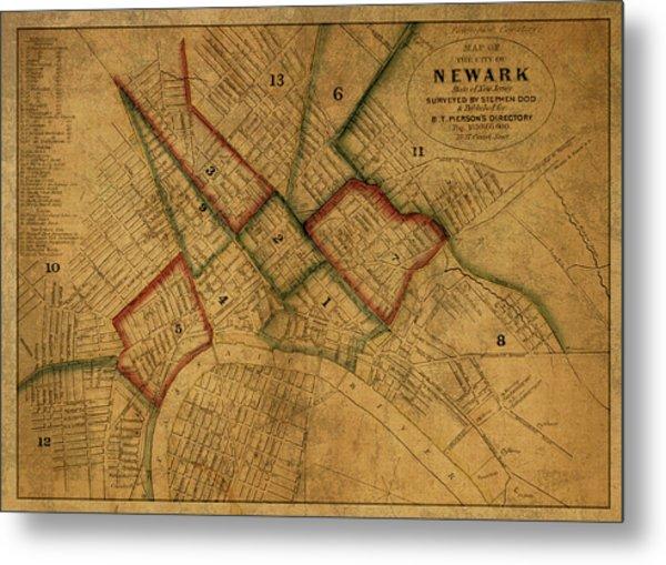 Newark New Jersey Vintage City Street Map 1859 Metal Print
