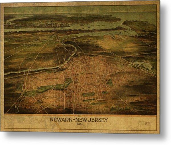 Newark New Jersey Vintage City Street Map 1916 Metal Print