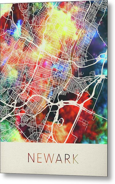 Newark New Jersey Watercolor City Street Map Metal Print