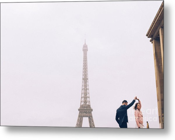 Newly-wed Couple On Their Honeymoon In Paris, Loving Having A Date Near The Eiffel Tower Metal Print