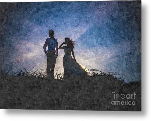 Newlywed Couple After Their Wedding At Sunset, Digital Art Oil P Metal Print