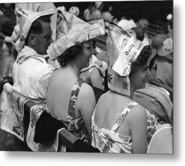 Newspaper Hats Metal Print