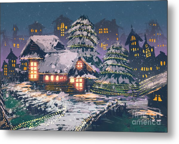 Night Scene Of Wooden Houses With Metal Print