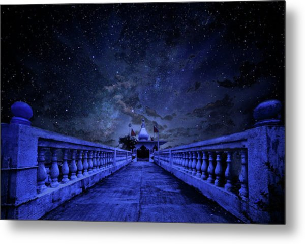 Night Sky Over The Temple Metal Print