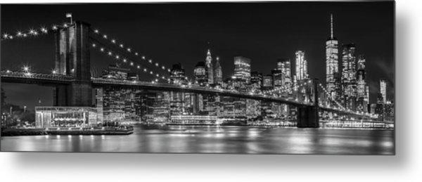 Night-skyline New York City Bw Metal Print