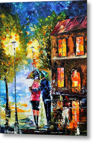 Metal Print featuring the painting Night Time Walk by Kevin Brown