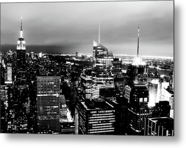 Night View Of New York Metal Print by Night View Of New York City From Rockefeller Center