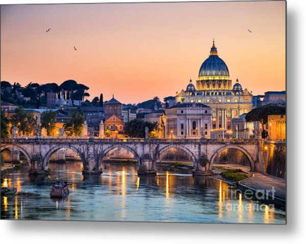 Night View Of The Basilica St Peter In Metal Print