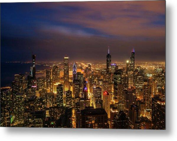 Nightfall Over Chicago Metal Print