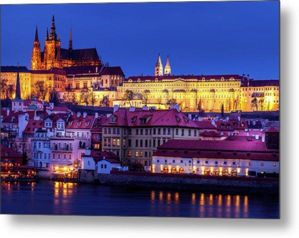 Nightfall Over Prague Metal Print by Andrew Soundarajan