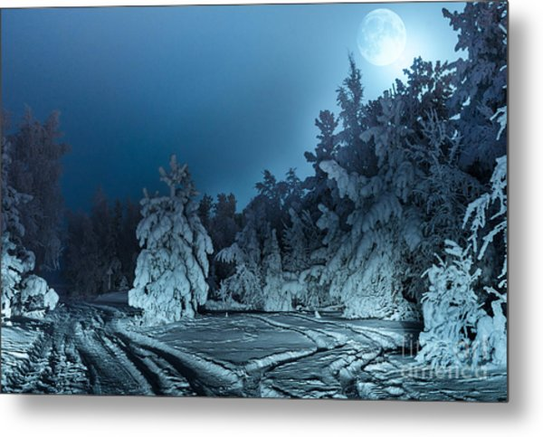 Nightly Landscape With Fir Forest Snow Metal Print