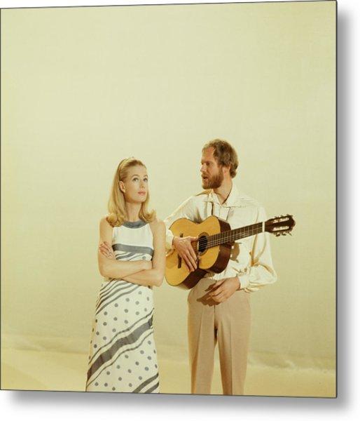 Nina And Frederik Perform On Tv Show Metal Print by David Redfern