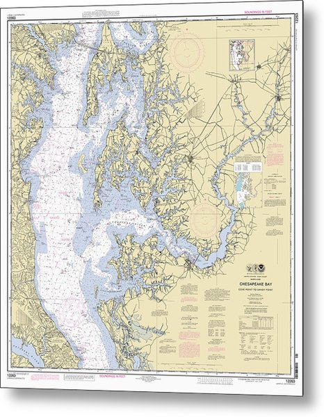 Chesapeake Bay, Cove Point To Sandy Point Nautical Chart Metal Print