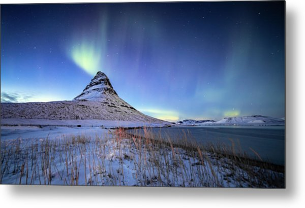 Northern Lights Atop Kirkjufell Iceland Metal Print