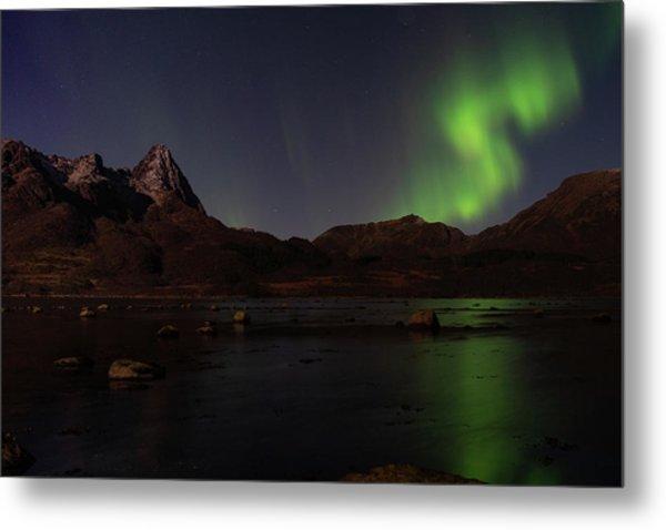 Northern Lights Aurora Borealis In Norway Metal Print