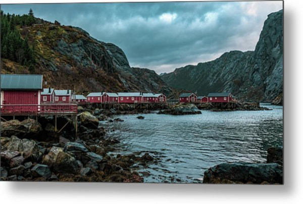 Norway Panoramic View Of Lofoten Islands In Norway With Sunset Scenic Metal Print
