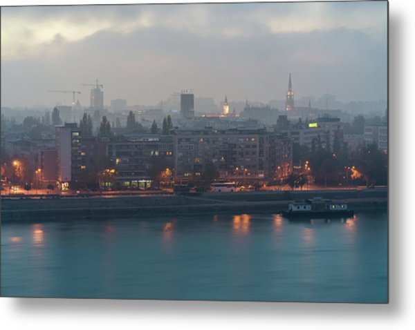 Novi Sad Night Cityscape Metal Print