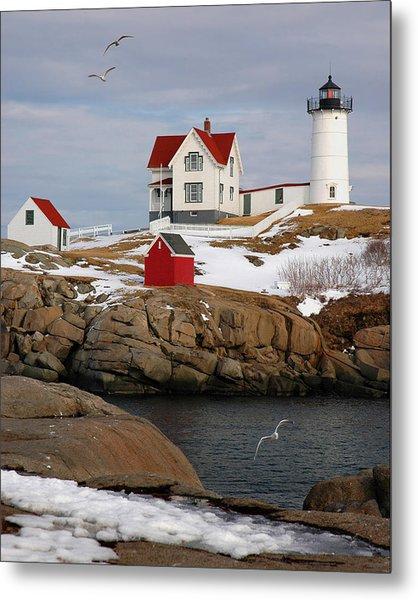 Nubble Light - Cape Neddick Lighthouse Seascape Landscape Rocky Coast Maine Metal Print