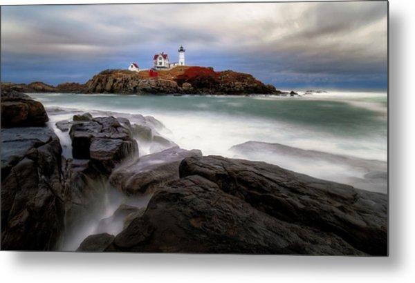Metal Print featuring the photograph  Nubble Lighthouse, York Me. by Michael Hubley