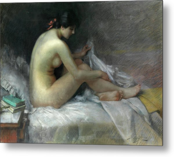 Nude On A Bed Metal Print